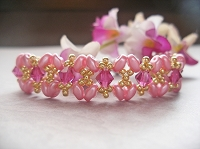 Pink Superduo Golden Criss Cross Bracelet Tutorial