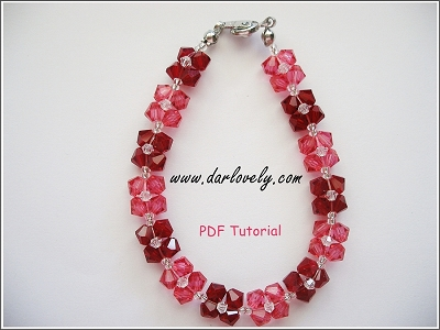 Free Pink Red Flower Bracelet Tutorial