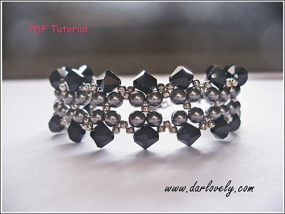 Black Pearl Flower Bracelet Tutorial