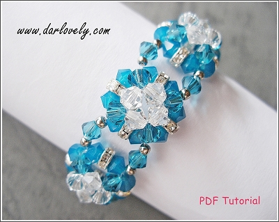 Blue Square Flower Bracelet