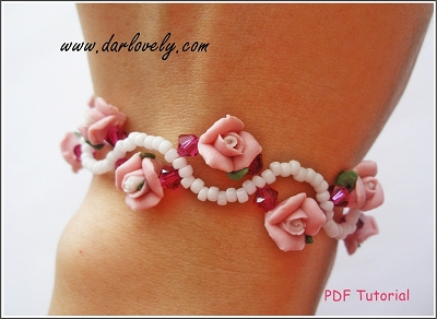Pink Clay Flower Bracelet Tutorial