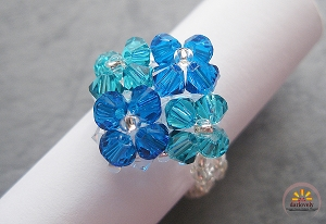 Blue Green Diamond Flower Ring Tutorial