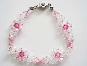 Pink Crystal Flower Bracelet Tutorial