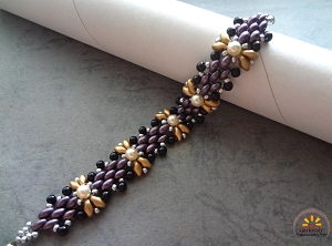 Black Purple Golden Pearl Duos Bracelet Tutorial
