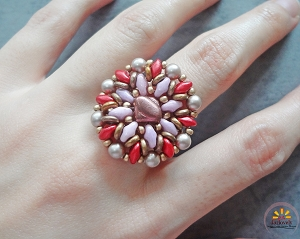 Red Sun Flower Ring Tutorial
