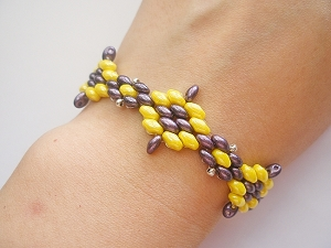 Yellow Amethyst Flower SuperDuo Bracelet Tutorial