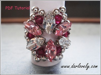 Free Crystal Pink Navette Flower Ring Tutorial