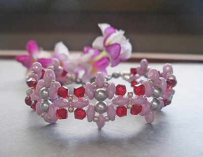 Pink Red Silver Flower Superduo Bracelet  Tutorial
