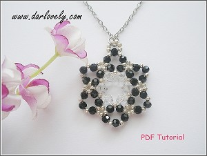 Black Crystal Flower Snow Flake Pendant Tutorial