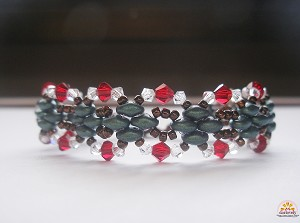 Red Green Christmas Superduo Bracelet Tutorial