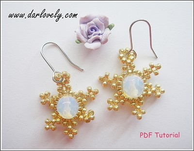 Golden Snowflake Moonstone Earrings Tutorial