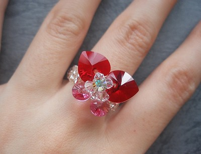 Red Pink Butterfly Ring Tutorial