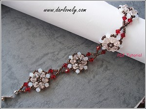 White Peach Bronze Flower Bracelet Tutorial