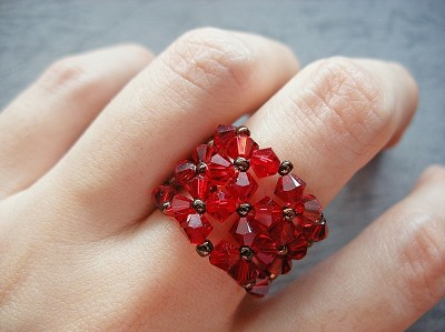 Red Flower Cuff Ring Tutorial