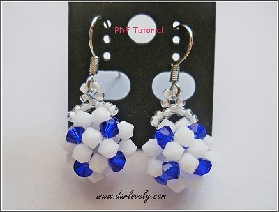Blue White Earrings Tutorial