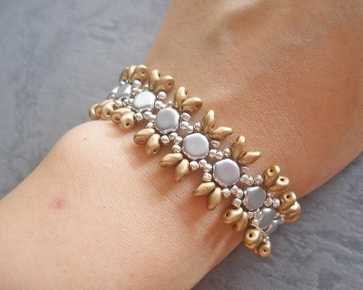 Gold Silver Superduo Honeycomb Bracelet Tutorial