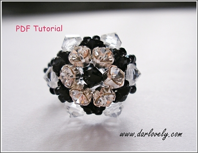 Free Black Montee Flower Ring Tutorial