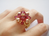 Ruby Rose Pearl Golden Ring Tutorial
