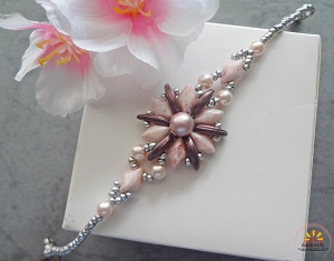 Pink Crescent Gem Flower Bracelet Tutorial