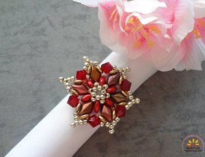 Red Gem Flower Ring Tutorial