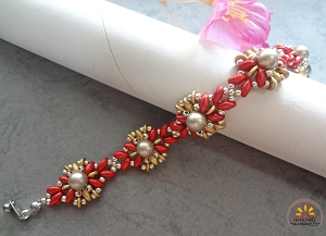 Golden Red Pearl Sunflower Bracelet Tutorial